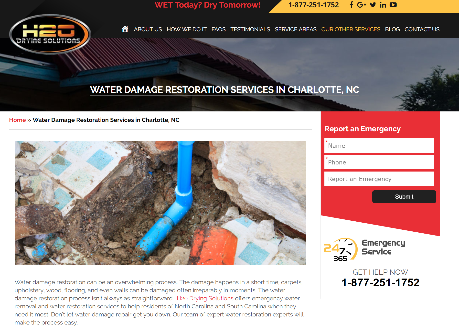 h2o drying solutions website